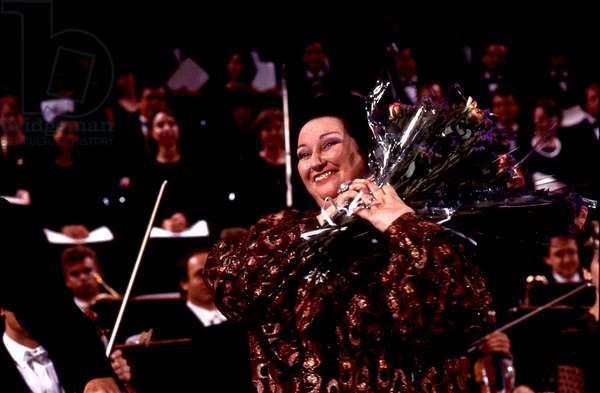 Montserrat Caballé  at the Festival de Radio France et de Montpellier in July 1986.  Spanish Catalan operatic soprano, b. 12 April 1933.
