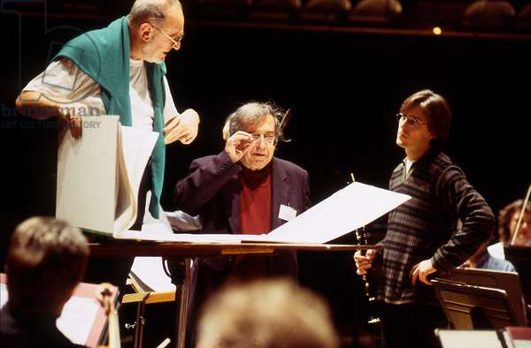 Michaèl Gielen, Luciano Berio, Paul Meyer - M.G, German conductor. b.1957.  L.B, Italian composer. 24 October 1925 - 27 May 2003. P.M, French Clarinetist. b.1965.