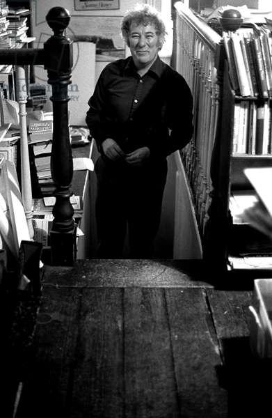Seamus Heaney at his home in Dublin, 1983. Irish poet b. 13 April 1939.