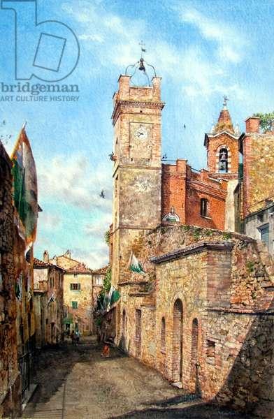 Torre dell'orologio e campinale, Montisi (watercolour)