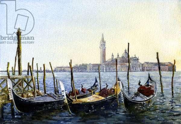 Gondolas & S. Giorgio Maggiore (watercolour)