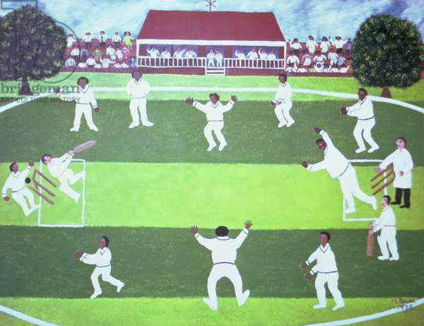 England v West Indies, 1975 (oil on board)