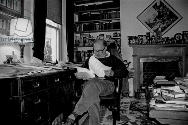 Nicolas Roeg in his Library, Courtnell Street, London (b/w photo)