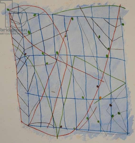 stick chart 2, 2014 (aquarelle crayon)