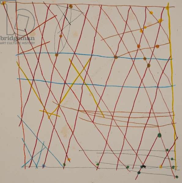 stick chart 4, 2014 (aquarelle crayon)