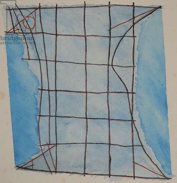 stick chart 5, 2014 (aquarelle crayon)