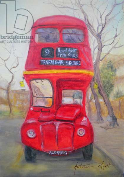 Red Bus (oil on canvas)