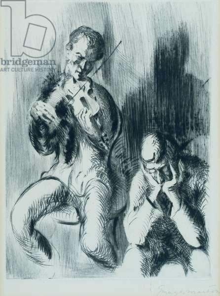 Violinist, 1923 (drypoint)
