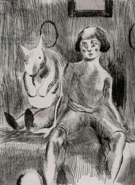 Boy with Teddy, 1925 (drypoint)
