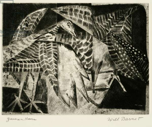 Guinea Hens, 1948 (etching & drypoint)