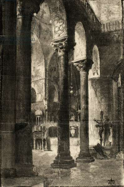 St. Mark's Venice, 1884 (charcoal on cream laid paper)