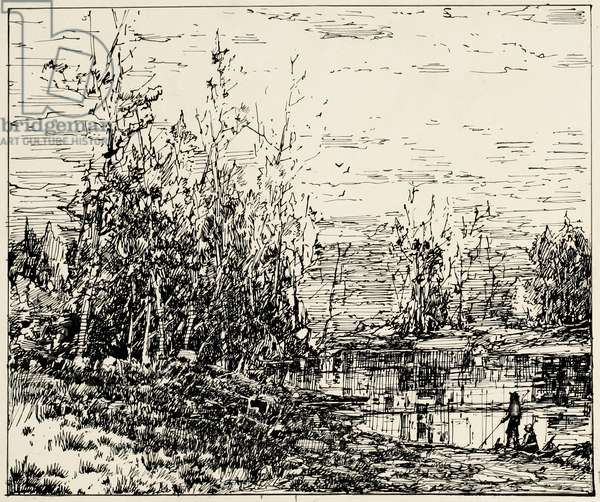 Edge of a Pond, Maine, 1884 (pen & ink on cream illustration board)