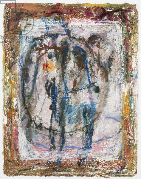 Dinner Plate, 1989 (retouched monotype with acrylic & oil pastel on paper)