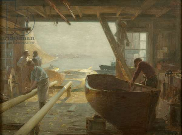 The Boat Builders (oil on canvas)