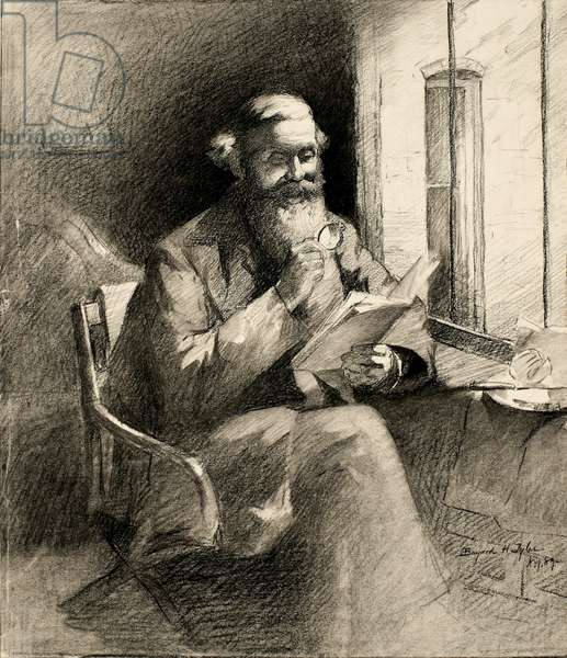 A Good Story, 1889 (charcoal on cream wove paper)
