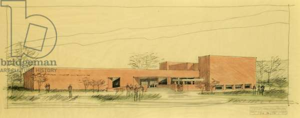 Perspective of the Mikveh Israel Synagogue in Philadelphia, c.1976 (pencil & pastel on paper)