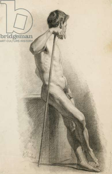 Study of male nude with staff, side view, 1871 (charcoal on buff laid paper)