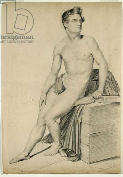 Untitled - Male nude copied from a lithograph, 1842 (graphite on buff wove paper)