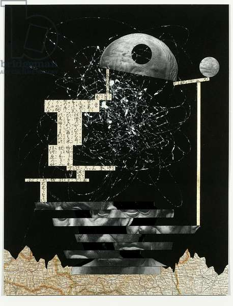 Telesis, 2007 (ink, toner, gold on paper with mirror)