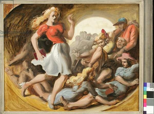 Barrel of Fun, 1943 (oil on panel)