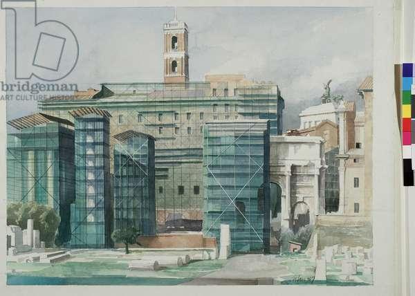 The Roman Forum, 1991 (w/c on paper)