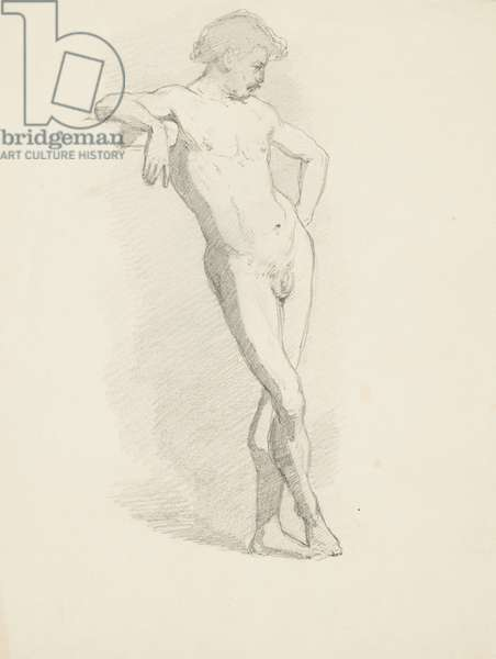 Study of standing male nude leaning on a ledge (pencil on paper)
