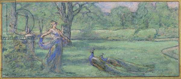 Woman with peacocks in a garden (pastel on paper)