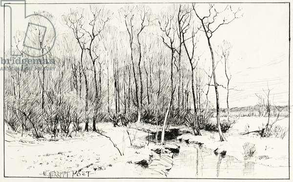 Untitled, winter landscape (pen & ink on paper)
