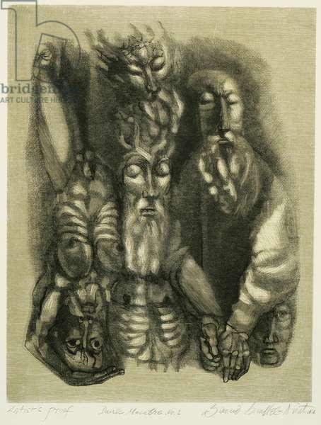 Danse Macabre No. 1, 1972 (colour wood engraving & woodcut)