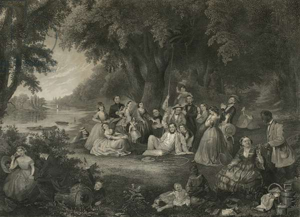 The Picnic on The Fourth of July, c.1864 (mixed method engraving)