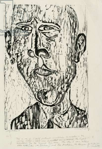 Self-Portrait, 1957 (woodcut on white handmade paper)