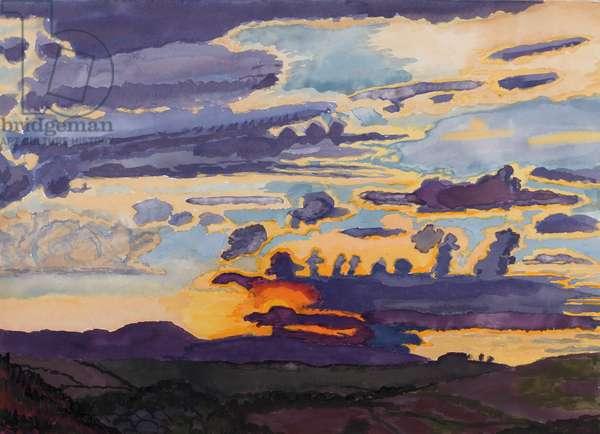 Sarageto Dawn XII, Tuscany, Italy, 2006 (w/c on paper)