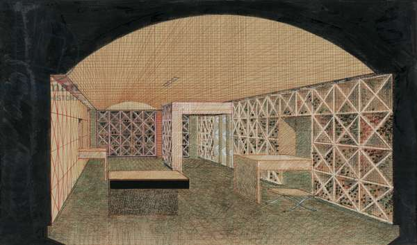 Rendering for a Wine Museum Seagram's Building, New York, 1983 (colored pencil on paper)