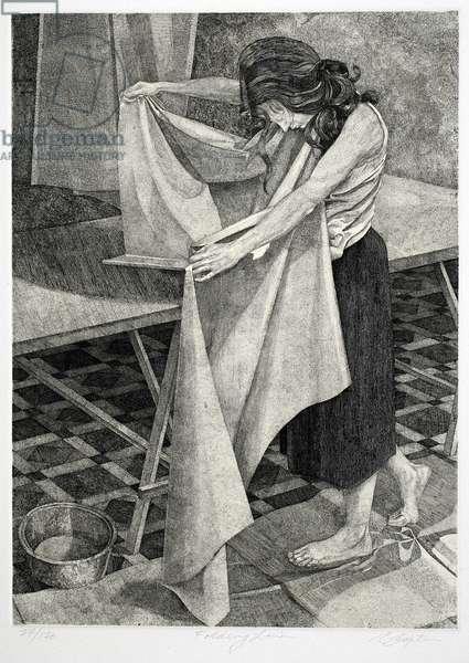 Folding Linen, 1980-81 (etching & engraving)