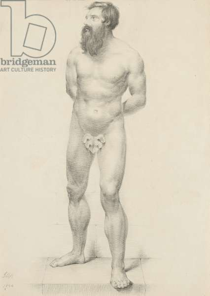 Untitled - Standing male nude with fig leaf, 1844 (graphite on buff wove paper)
