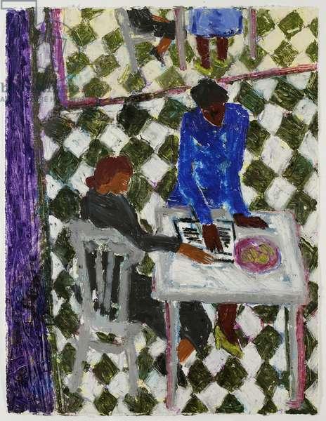 Vermeer's Floor, 2001 (oil pastel on bfk rives paper)