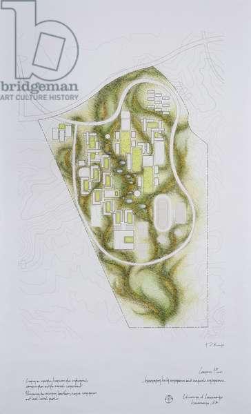 Campus Plan: Integrating natural systems and built systems, University of Sacramento, Sacramento, California, 2008 (pencil on paper)