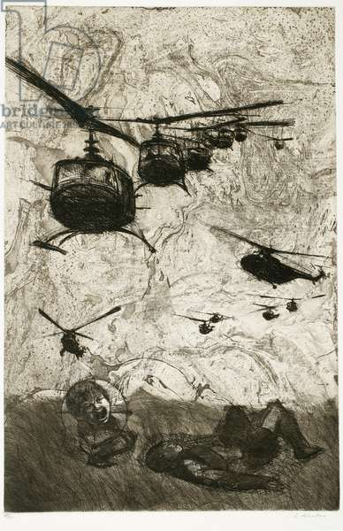 Gift of America Series #3: Vietnam with Helicopters and Kids, 1967 (etching & aquatint)