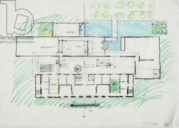 Site Plan - Barnes Foundation, 2008 (marker on trace paper)