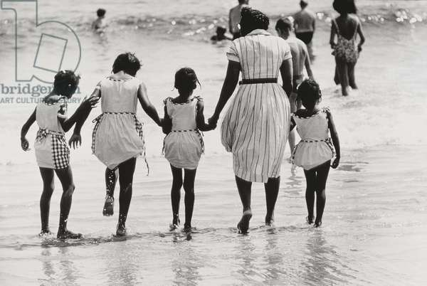 Mother and 4 Daughters Entering Water at Coney Island, Untitled 37, c.1953-64 (b/w photo)