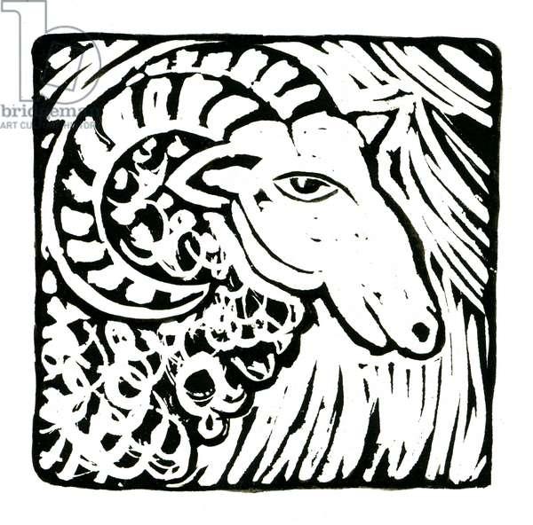 Horoscope (Aries), 2017 (lino print)