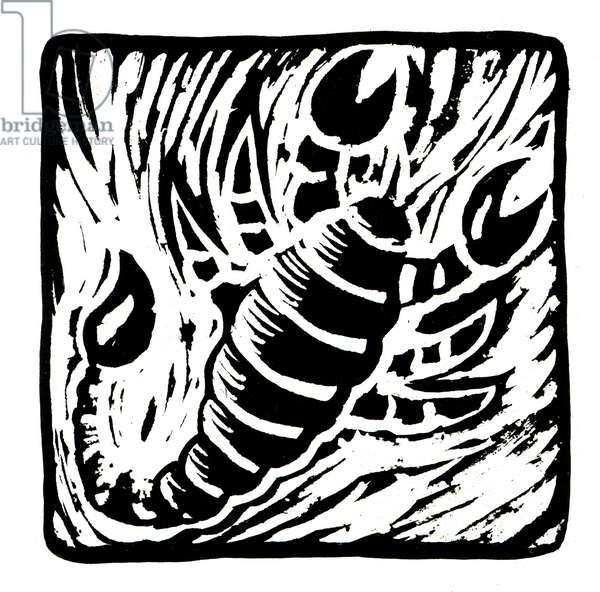 Horoscope (Scorpio), 2017 (lino print)