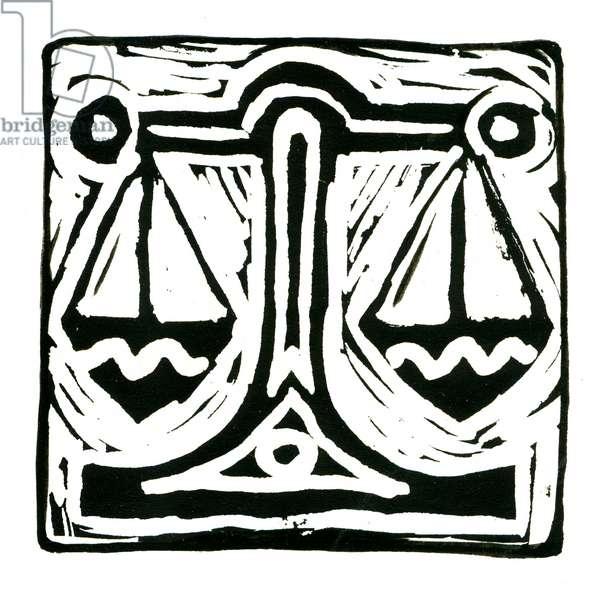 Horoscope (Libra), 2017 (lino print)