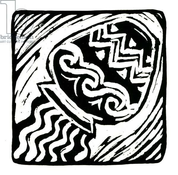 Horoscope (Aquarius), 2017 (lino print)