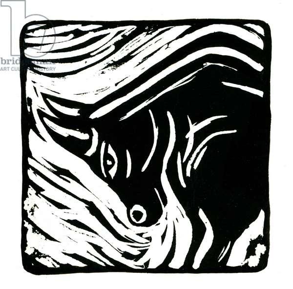 Horoscope (Taurus), 2017 (lino print)