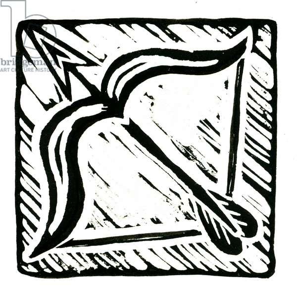 Horoscope (Sagittarius), 2017 (lino print)