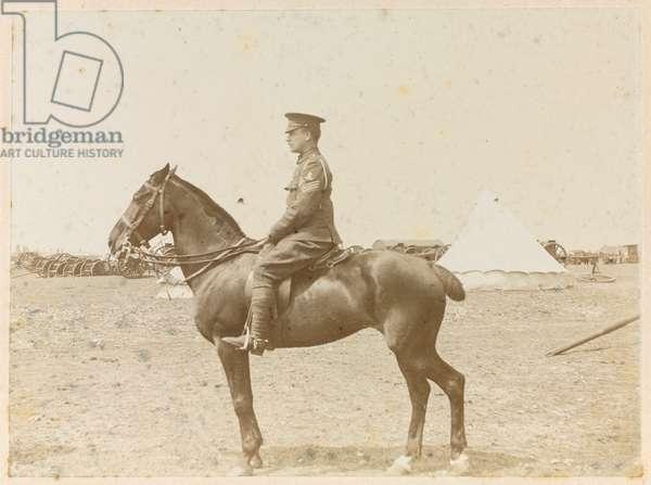 Battery Quartermaster Sergeant Samuel Pye on horseback, 1915 circa (b/w photo)