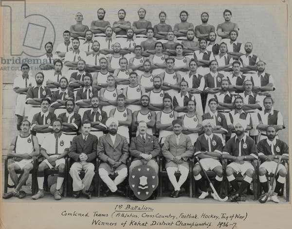 Combined sports team, 1st Battalion, 15th Punjab Regiment, 1937 (b/w photo)
