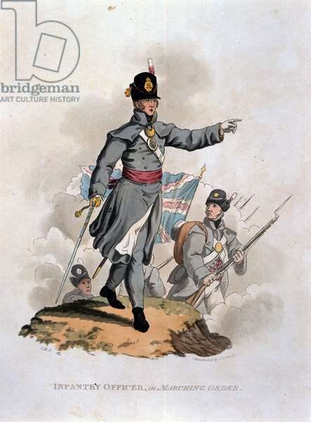 Infantry Officer in Marching Order, from 'Costumes of the Army of the British Empire, according to the last regulations 1812', engraved by J.C. Stadler, published by Colnaghi & Co. 1812-15 (coloured aquatint)