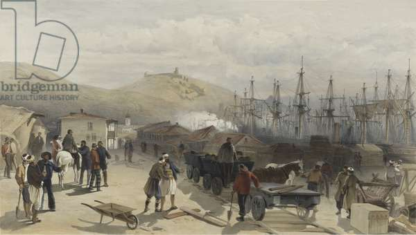 The Railway at Balaklava looking South, 1855 (colour litho)